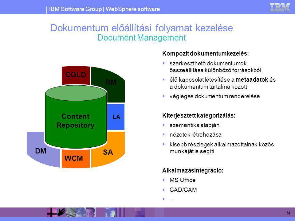 IBM Software Group | WebSphere software 34 Dokumentum előállítási folyamat kezelése Document Management Kompozit dokumentumkezelés:  szerkeszthető do
