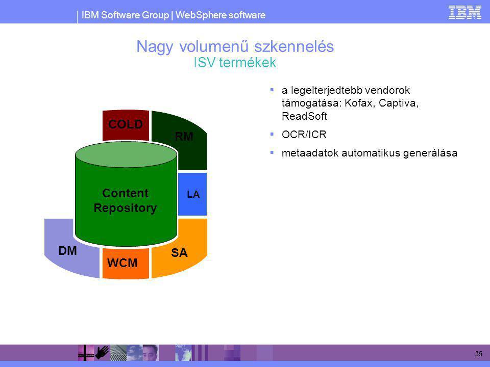 IBM Software Group | WebSphere software 35 Nagy volumenű szkennelés ISV termékek  a legelterjedtebb vendorok támogatása: Kofax, Captiva, ReadSoft  O