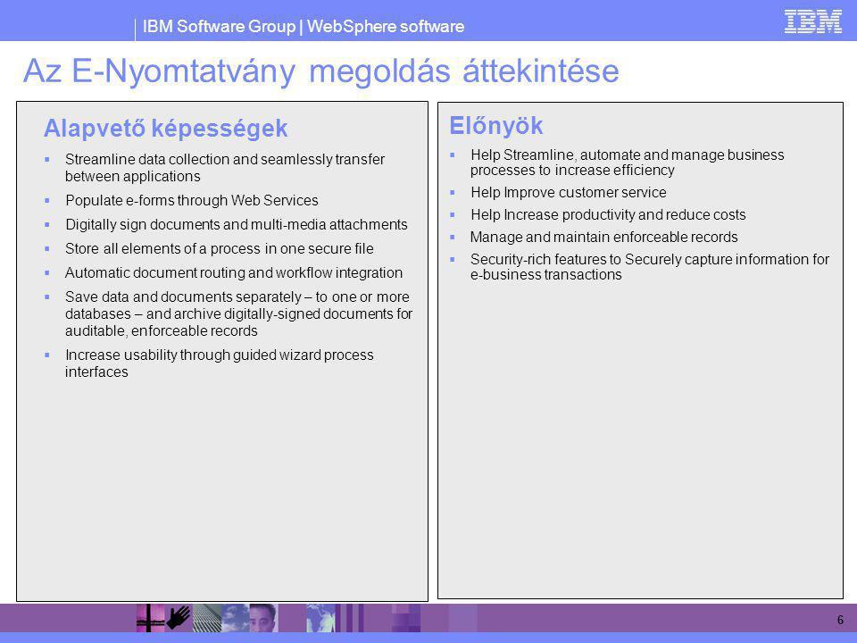 IBM Software Group | WebSphere software 27 Megtekintés és szerkesztés (jogosultságok alapján) Check in/out Vizuális/szöveges megjegyzések Verziókezelés