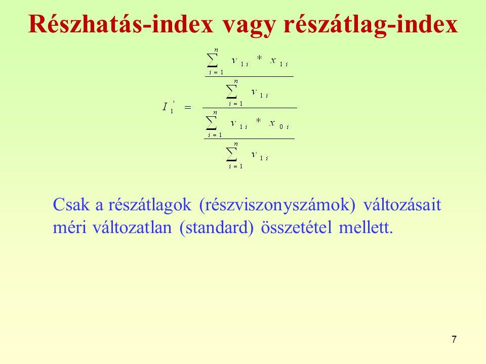 Részhatás-index vagy részátlag-index Csak a részátlagok (részviszonyszámok) változásait méri változatlan (standard) összetétel mellett. 7