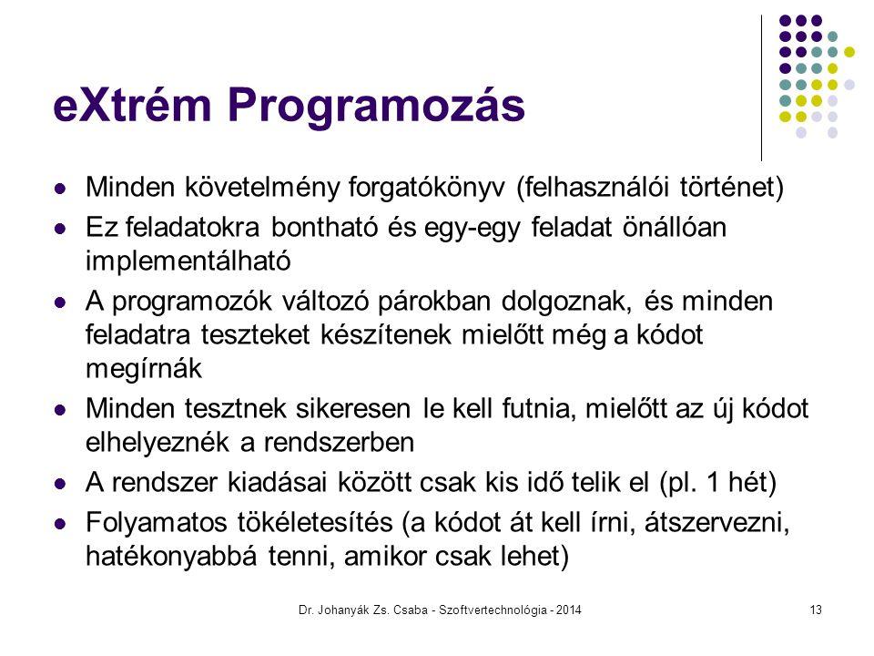 eXtrém Programozás Minden követelmény forgatókönyv (felhasználói történet) Ez feladatokra bontható és egy-egy feladat önállóan implementálható A progr
