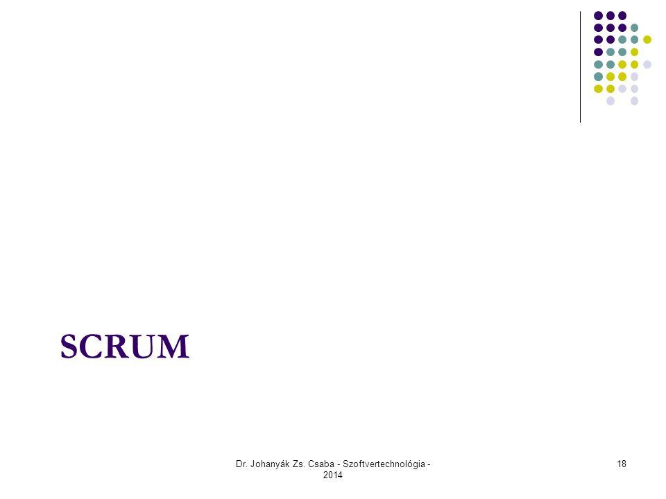 SCRUM Dr. Johanyák Zs. Csaba - Szoftvertechnológia - 2014 18