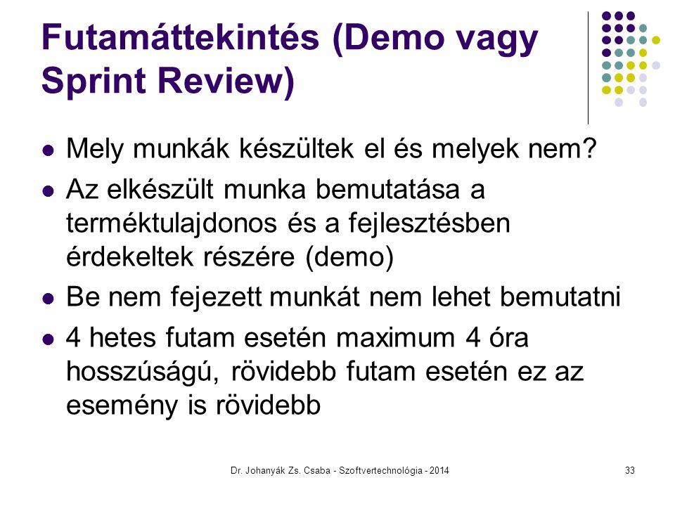 Futamáttekintés (Demo vagy Sprint Review) Mely munkák készültek el és melyek nem? Az elkészült munka bemutatása a terméktulajdonos és a fejlesztésben