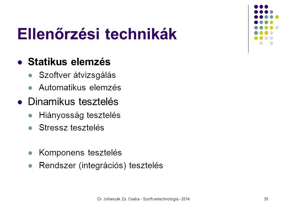 Dr. Johanyák Zs. Csaba - Szoftvertechnológia - 2014 Ellenőrzési technikák Statikus elemzés Szoftver átvizsgálás Automatikus elemzés Dinamikus tesztelé
