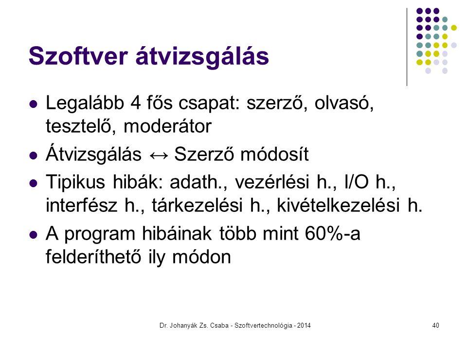 Dr. Johanyák Zs. Csaba - Szoftvertechnológia - 2014 Szoftver átvizsgálás Legalább 4 fős csapat: szerző, olvasó, tesztelő, moderátor Átvizsgálás ↔ Szer