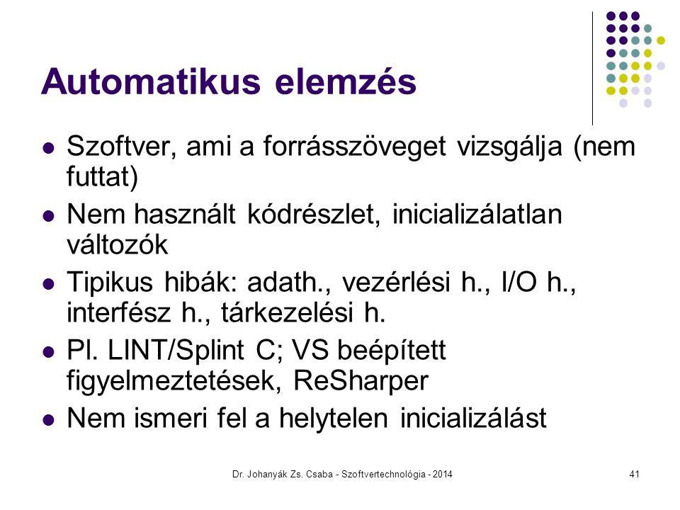 Dr. Johanyák Zs. Csaba - Szoftvertechnológia - 2014 Automatikus elemzés Szoftver, ami a forrásszöveget vizsgálja (nem futtat) Nem használt kódrészlet,