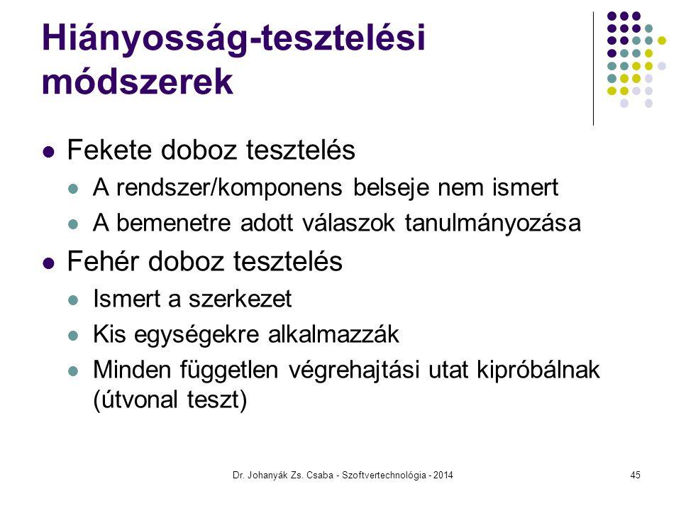 Dr. Johanyák Zs. Csaba - Szoftvertechnológia - 2014 Hiányosság-tesztelési módszerek Fekete doboz tesztelés A rendszer/komponens belseje nem ismert A b