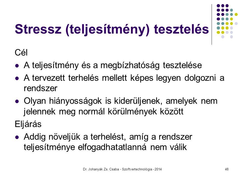 Dr. Johanyák Zs. Csaba - Szoftvertechnológia - 2014 Stressz (teljesítmény) tesztelés Cél A teljesítmény és a megbízhatóság tesztelése A tervezett terh