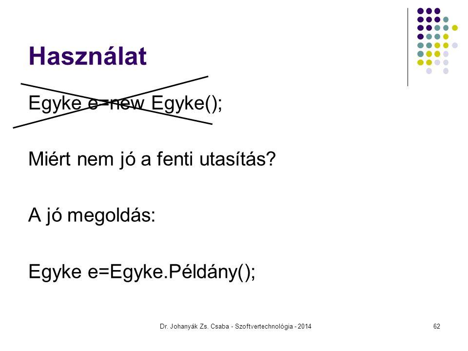 Használat Egyke e=new Egyke(); Miért nem jó a fenti utasítás? A jó megoldás: Egyke e=Egyke.Példány(); Dr. Johanyák Zs. Csaba - Szoftvertechnológia - 2