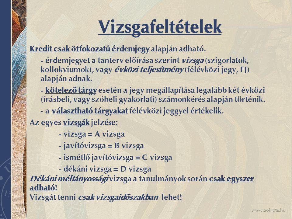 www.aok.pte.hu Vizsgafeltételek Kredit csak ötfokozatú érdemjegy alapján adható.