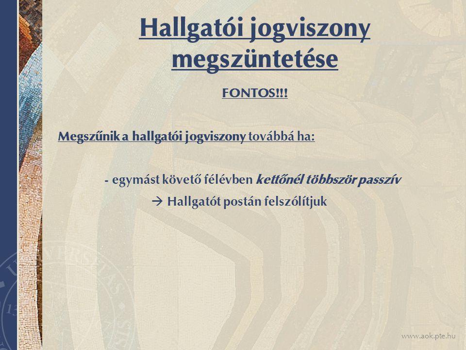 www.aok.pte.hu Hallgatói jogviszony megszüntetése FONTOS!!.