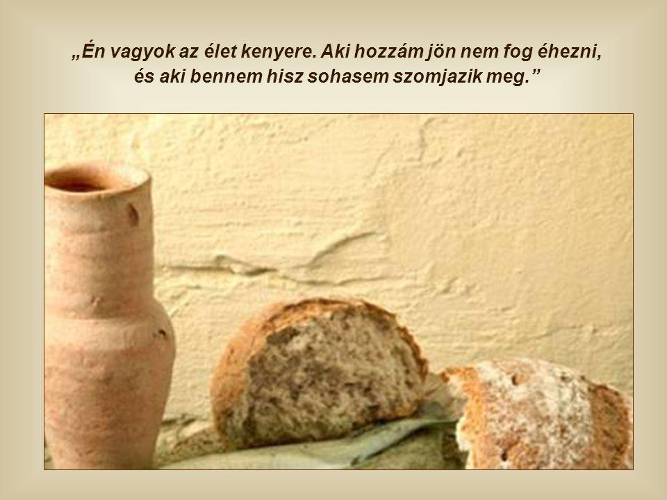 Nem sokkal ezután, ugyanebben a beszédben Jézus úgy mutatkozik be a tömegnek – mely még nem érti Őt –, hogy Ő maga a mennyből alászállott igazi kenyér