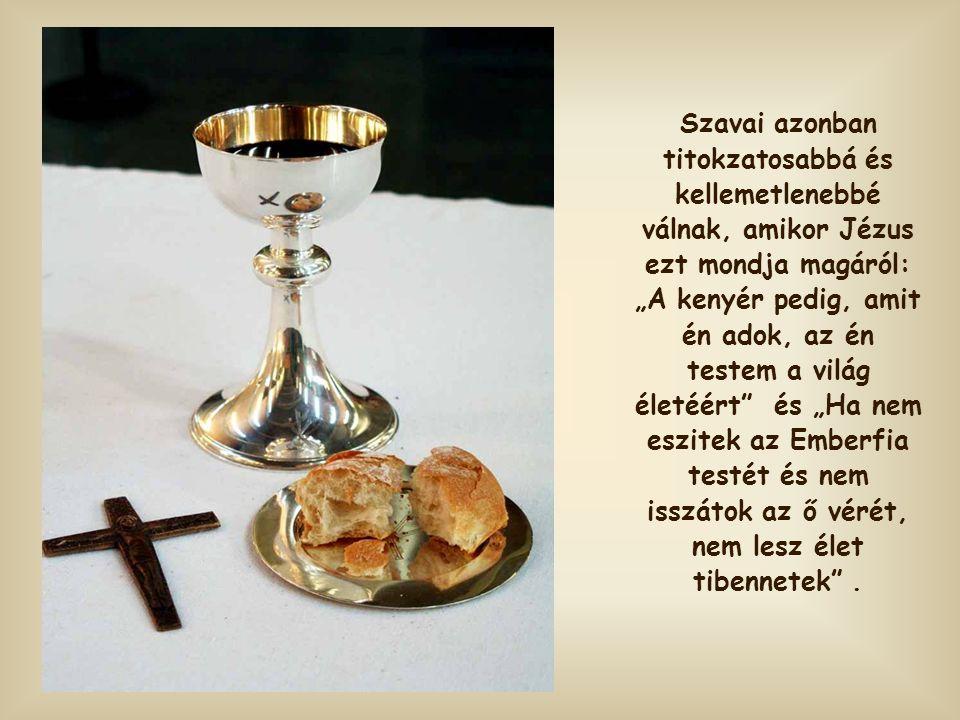 """Szavai azonban titokzatosabbá és kellemetlenebbé válnak, amikor Jézus ezt mondja magáról: """"A kenyér pedig, amit én adok, az én testem a világ életéért és """"Ha nem eszitek az Emberfia testét és nem isszátok az ő vérét, nem lesz élet tibennetek ."""