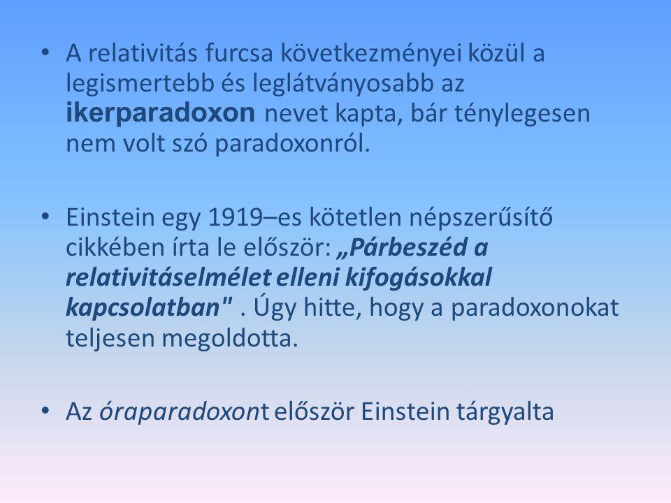 A relativitás furcsa következményei közül a legismertebb és leglátványosabb az ikerparadoxon nevet kapta, bár ténylegesen nem volt szó paradoxonról. E