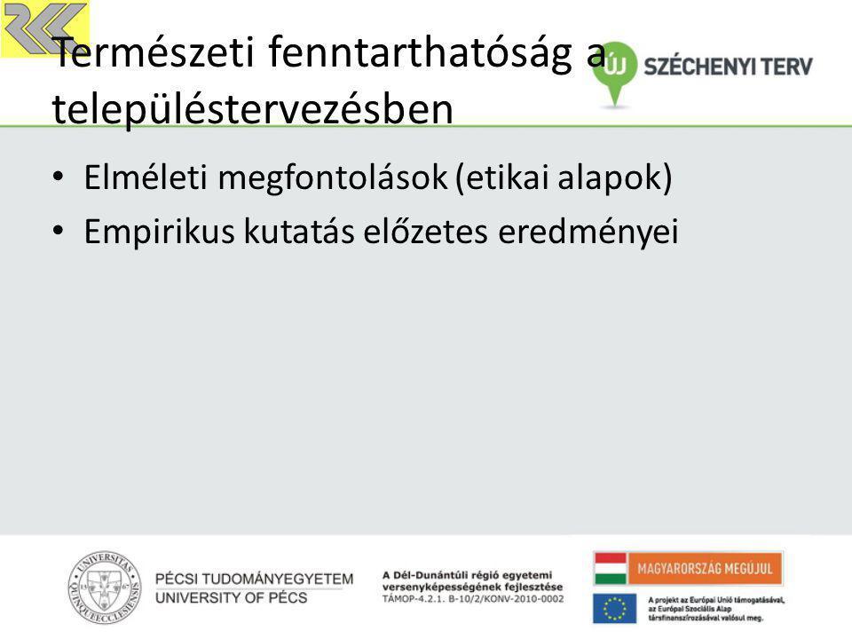 Elméleti megfontolások (etikai alapok) Empirikus kutatás előzetes eredményei Természeti fenntarthatóság a településtervezésben