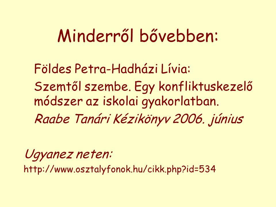 Minderről bővebben: Földes Petra-Hadházi Lívia: Szemtől szembe. Egy konfliktuskezelő módszer az iskolai gyakorlatban. Raabe Tanári Kézikönyv 2006. jún