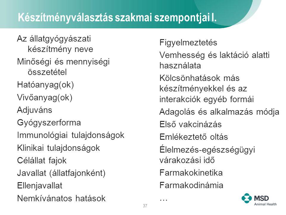 37 Készítményválasztás szakmai szempontjai I. Az állatgyógyászati készítmény neve Minőségi és mennyiségi összetétel Hatóanyag(ok) Vivőanyag(ok) Adjuvá