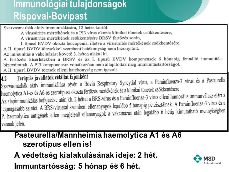 42 Immunológiai tulajdonságok Rispoval-Bovipast Pasteurella/Mannheimia haemolytica A1 és A6 szerotípus ellen is! A védettség kialakulásának ideje: 2 h