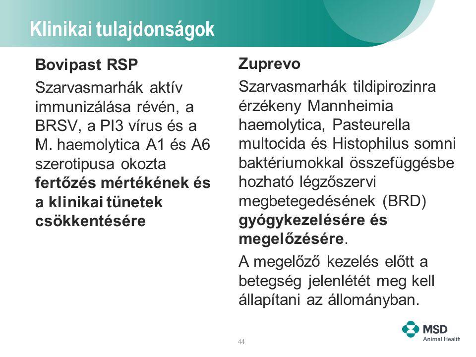 44 Klinikai tulajdonságok Bovipast RSP Szarvasmarhák aktív immunizálása révén, a BRSV, a PI3 vírus és a M. haemolytica A1 és A6 szerotipusa okozta fer