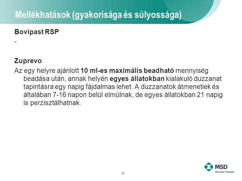 46 Mellékhatások (gyakorisága és súlyossága) Bovipast RSP - Zuprevo Az egy helyre ajánlott 10 ml-es maximális beadható mennyiség beadása után, annak h