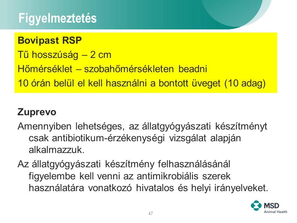 47 Figyelmeztetés Bovipast RSP Tű hosszúság – 2 cm Hőmérséklet – szobahőmérsékleten beadni 10 órán belül el kell használni a bontott üveget (10 adag)