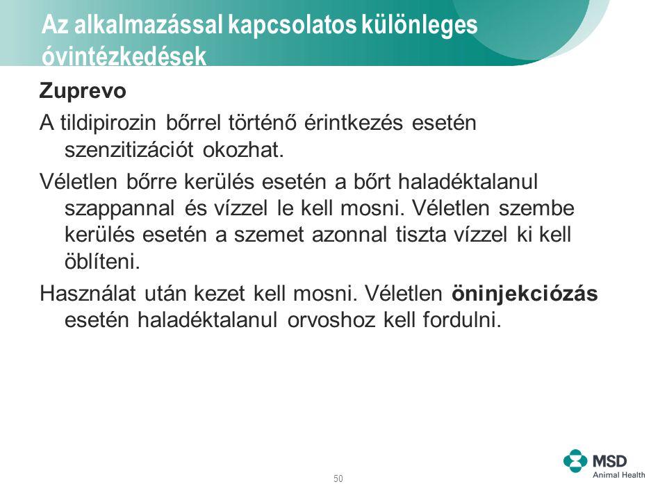 50 Az alkalmazással kapcsolatos különleges óvintézkedések Zuprevo A tildipirozin bőrrel történő érintkezés esetén szenzitizációt okozhat. Véletlen bőr