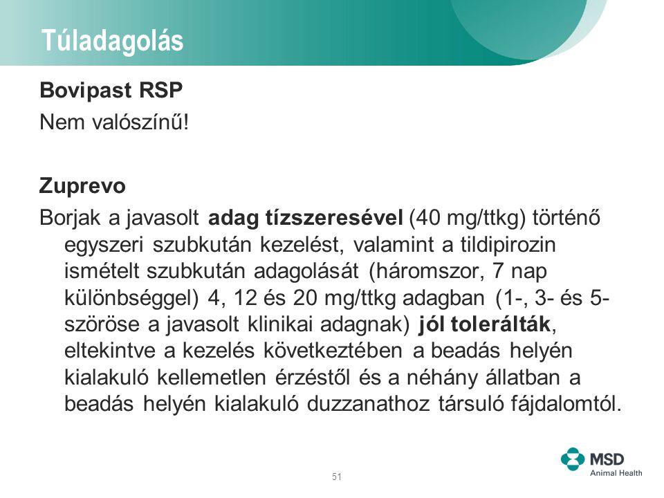 51 Túladagolás Bovipast RSP Nem valószínű! Zuprevo Borjak a javasolt adag tízszeresével (40 mg/ttkg) történő egyszeri szubkután kezelést, valamint a t