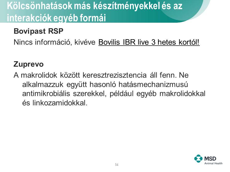 54 Kölcsönhatások más készítményekkel és az interakciók egyéb formái Bovipast RSP Nincs információ, kivéve Bovilis IBR live 3 hetes kortól! Zuprevo A