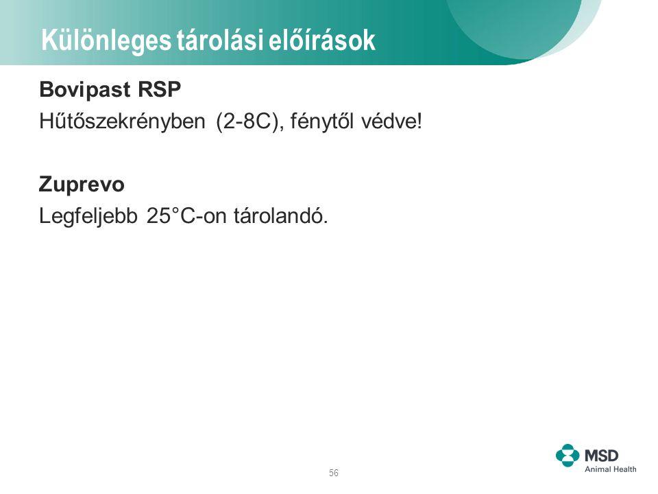 56 Különleges tárolási előírások Bovipast RSP Hűtőszekrényben (2-8C), fénytől védve! Zuprevo Legfeljebb 25°C-on tárolandó.