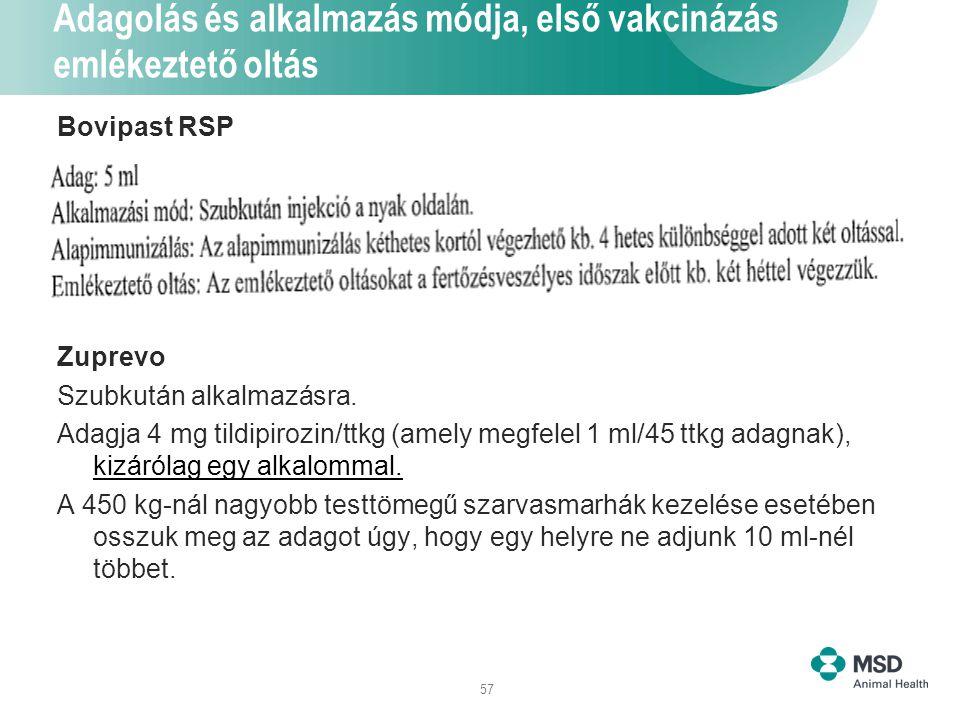 57 Adagolás és alkalmazás módja, első vakcinázás emlékeztető oltás Bovipast RSP Zuprevo Szubkután alkalmazásra. Adagja 4 mg tildipirozin/ttkg (amely m