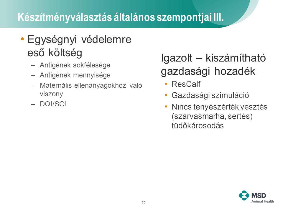 72 Készítményválasztás általános szempontjai III. Egységnyi védelemre eső költség –Antigének sokfélesége –Antigének mennyisége –Maternális ellenanyago