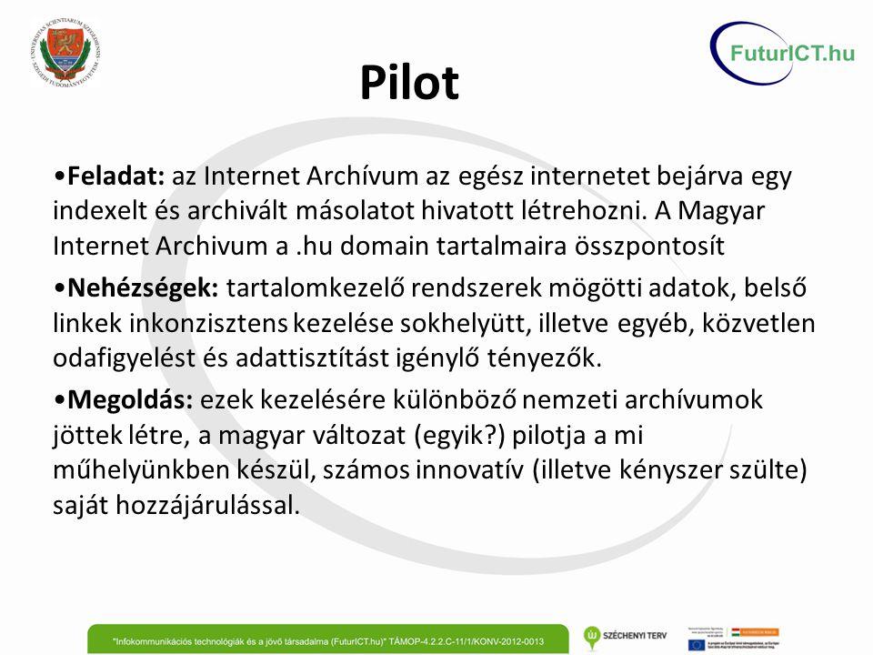 Pilot Feladat: az Internet Archívum az egész internetet bejárva egy indexelt és archivált másolatot hivatott létrehozni.