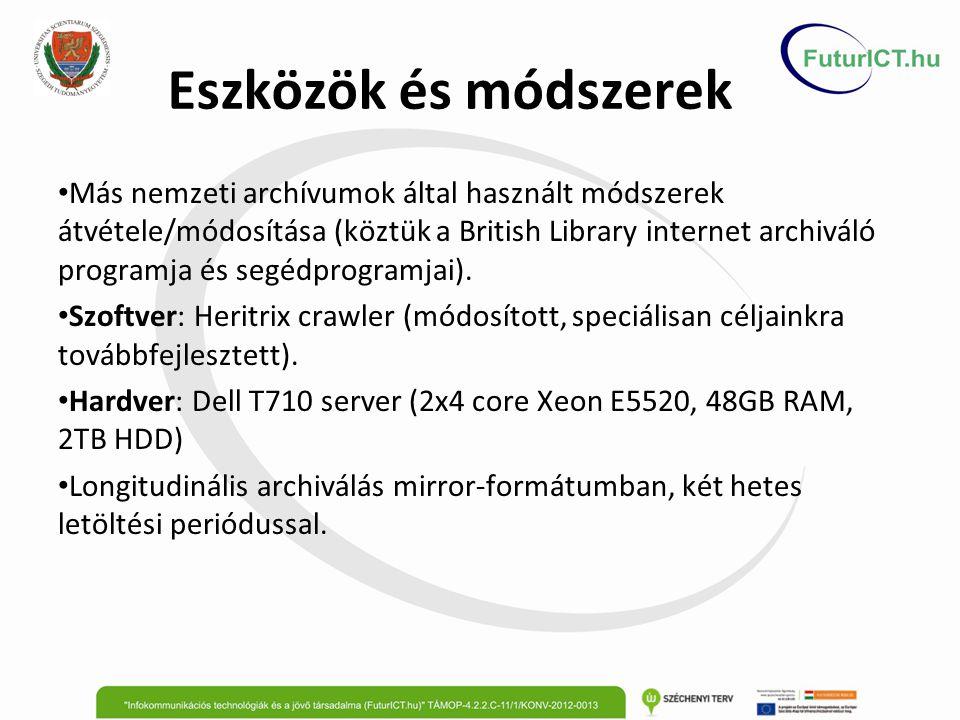 Eszközök és módszerek Más nemzeti archívumok által használt módszerek átvétele/módosítása (köztük a British Library internet archiváló programja és segédprogramjai).