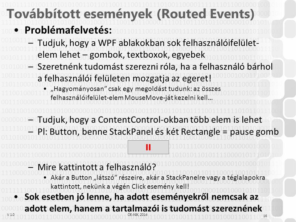 V 1.0ÓE-NIK, 2014 Továbbított események (Routed Events) Problémafelvetés: –Tudjuk, hogy a WPF ablakokban sok felhasználóifelület- elem lehet – gombok, textboxok, egyebek –Szeretnénk tudomást szerezni róla, ha a felhasználó bárhol a felhasználói felületen mozgatja az egeret.