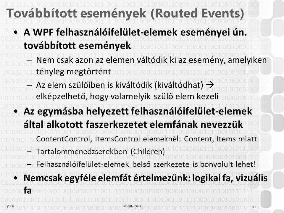V 1.0ÓE-NIK, 2014 Továbbított események (Routed Events) A WPF felhasználóifelület-elemek eseményei ún.