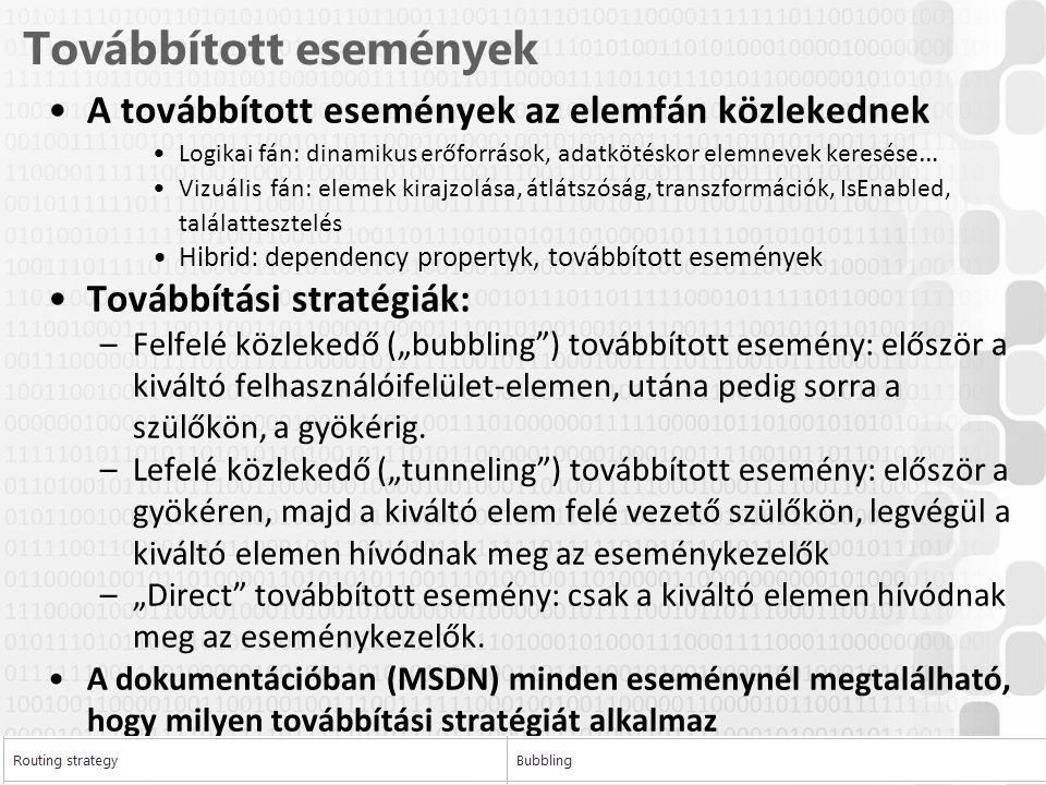 """V 1.0ÓE-NIK, 2014 Továbbított események A továbbított események az elemfán közlekednek Logikai fán: dinamikus erőforrások, adatkötéskor elemnevek keresése … Vizuális fán: elemek kirajzolása, átlátszóság, transzformációk, IsEnabled, találattesztelés Hibrid: dependency propertyk, továbbított események Továbbítási stratégiák: –Felfelé közlekedő (""""bubbling ) továbbított esemény: először a kiváltó felhasználóifelület-elemen, utána pedig sorra a szülőkön, a gyökérig."""