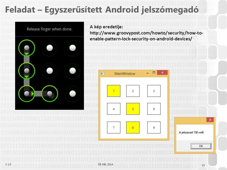 V 1.0ÓE-NIK, 2014 Feladat – Egyszerűsített Android jelszómegadó A kép eredetije: http://www.groovypost.com/howto/security/how-to- enable-pattern-lock-security-on-android-devices/ 23