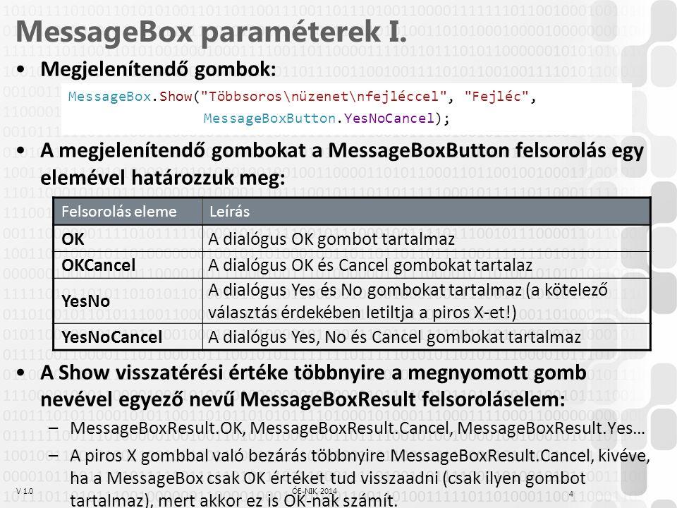 V 1.0ÓE-NIK, 2014 4 MessageBox paraméterek I. Megjelenítendő gombok: A megjelenítendő gombokat a MessageBoxButton felsorolás egy elemével határozzuk m
