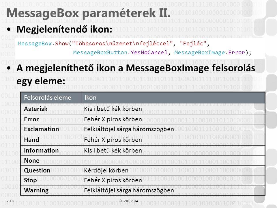 V 1.0ÓE-NIK, 2014 5 MessageBox paraméterek II. Megjelenítendő ikon: A megjeleníthető ikon a MessageBoxImage felsorolás egy eleme: Felsorolás elemeIkon