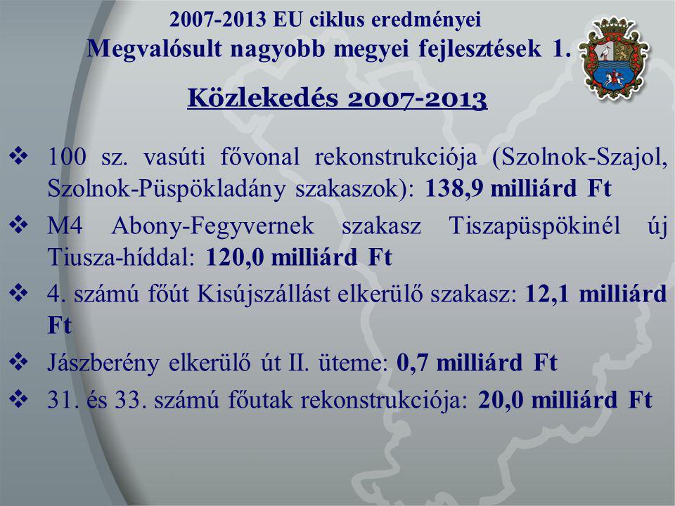 2007-2013 EU ciklus eredményei Megvalósult nagyobb megyei fejlesztések 1.