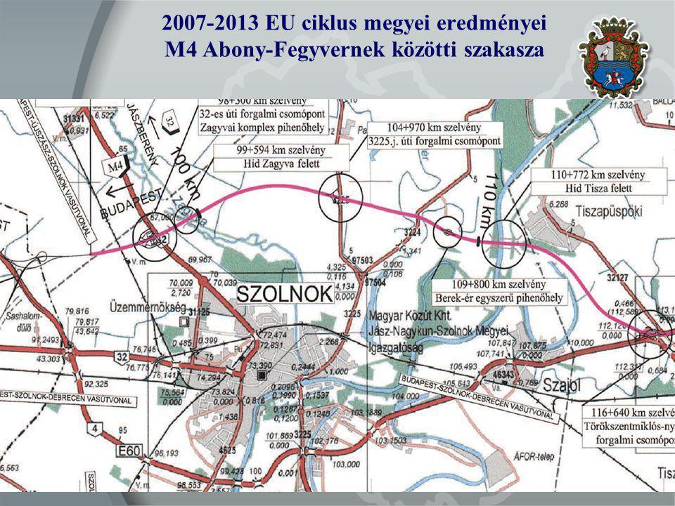 2007-2013 EU ciklus megyei eredményei M4 Abony-Fegyvernek közötti szakasza