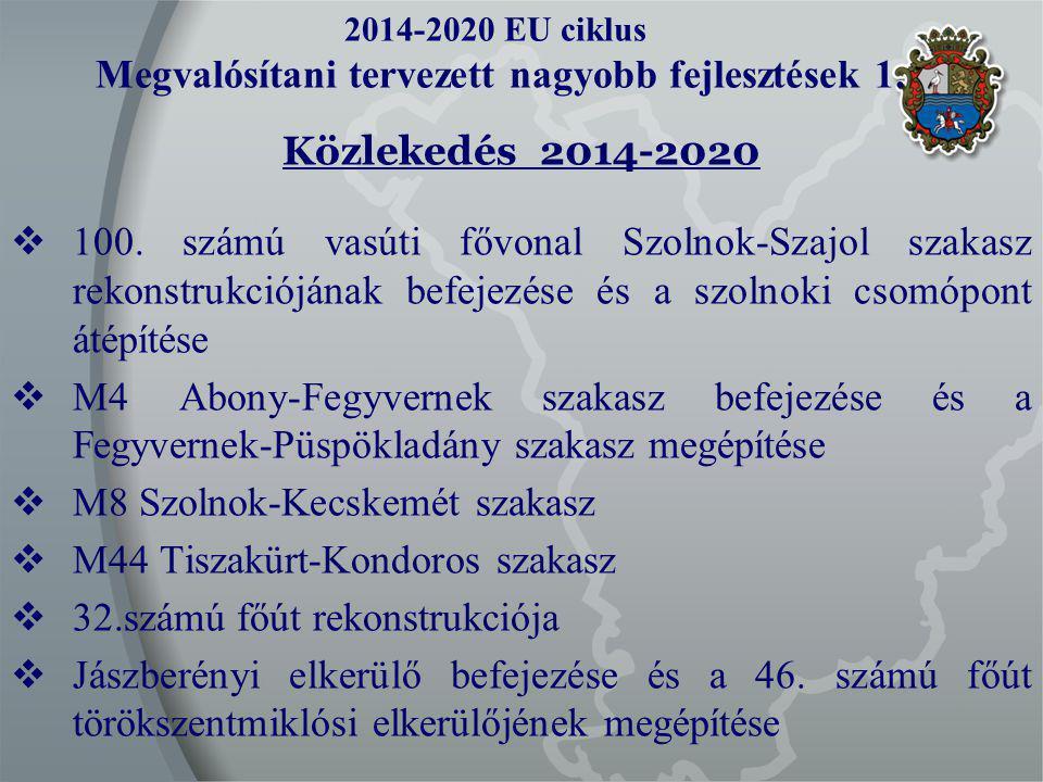 2014-2020 EU ciklus Megvalósítani tervezett nagyobb fejlesztések 1.