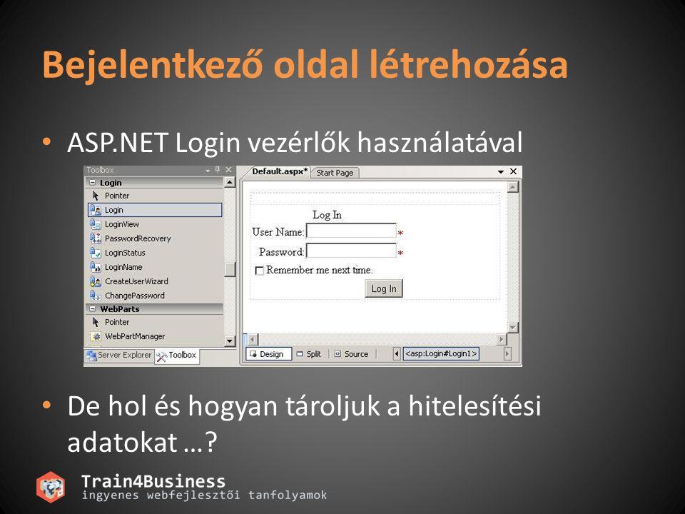 Bejelentkező oldal létrehozása ASP.NET Login vezérlők használatával De hol és hogyan tároljuk a hitelesítési adatokat …