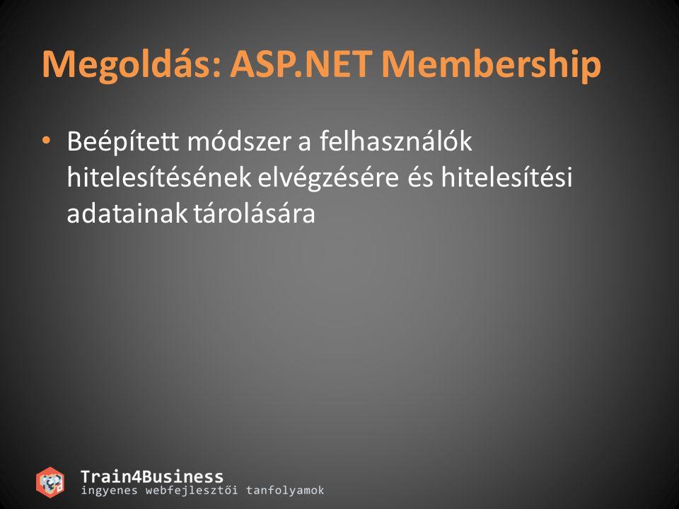 Megoldás: ASP.NET Membership Beépített módszer a felhasználók hitelesítésének elvégzésére és hitelesítési adatainak tárolására