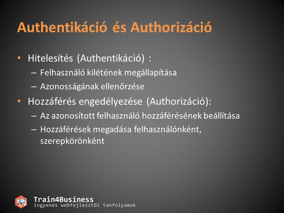 Authentikáció és Authorizáció Hitelesítés (Authentikáció) : – Felhasználó kilétének megállapítása – Azonosságának ellenőrzése Hozzáférés engedélyezése (Authorizáció): – Az azonosított felhasználó hozzáférésének beállítása – Hozzáférések megadása felhasználónként, szerepkörönként