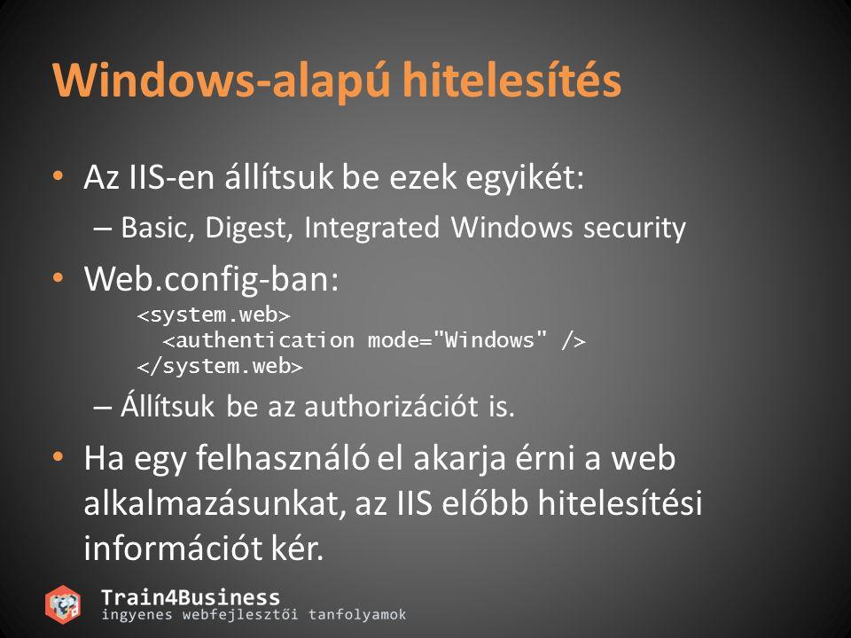 Windows-alapú hitelesítés Az IIS-en állítsuk be ezek egyikét: – Basic, Digest, Integrated Windows security Web.config-ban: – Állítsuk be az authorizác