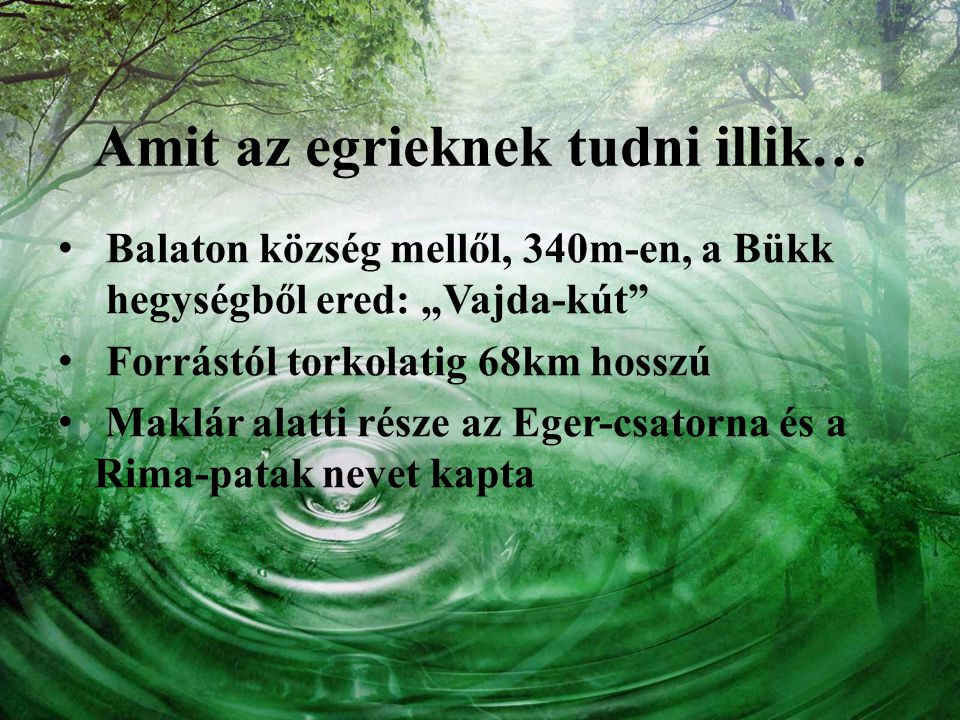 """Amit az egrieknek tudni illik… Balaton község mellől, 340m-en, a Bükk hegységből ered: """"Vajda-kút"""" Forrástól torkolatig 68km hosszú Maklár alatti rész"""