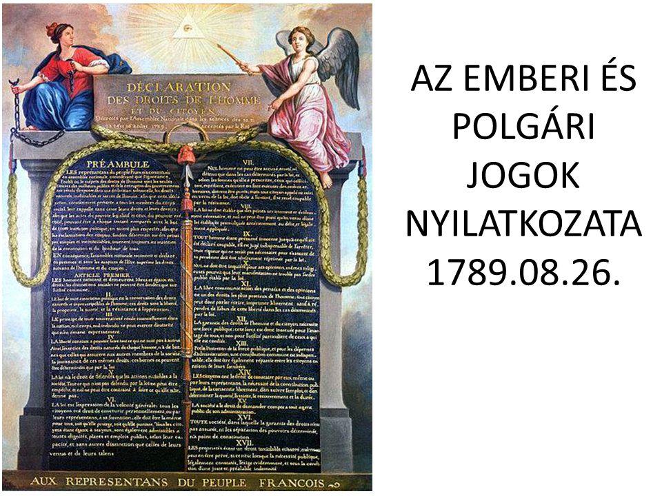 AZ EMBERI ÉS POLGÁRI JOGOK NYILATKOZATA 1789.08.26.