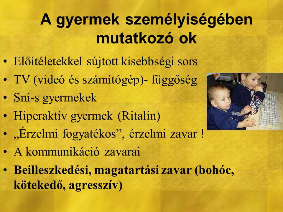 A gyermek személyiségében mutatkozó ok Előítéletekkel sújtott kisebbségi sors TV (videó és számítógép)- függőség Sni-s gyermekek Hiperaktív gyermek (R