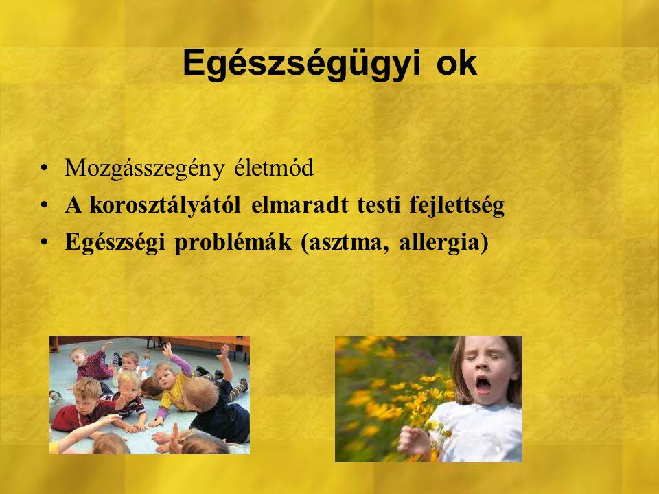 Egészségügyi ok Mozgásszegény életmód A korosztályától elmaradt testi fejlettség Egészségi problémák (asztma, allergia)